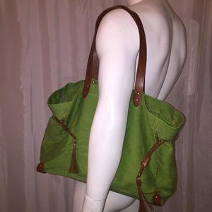 auth MIU MIU green linen & leather TOTE shopper